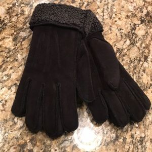 Land's End black suede winter gloves M